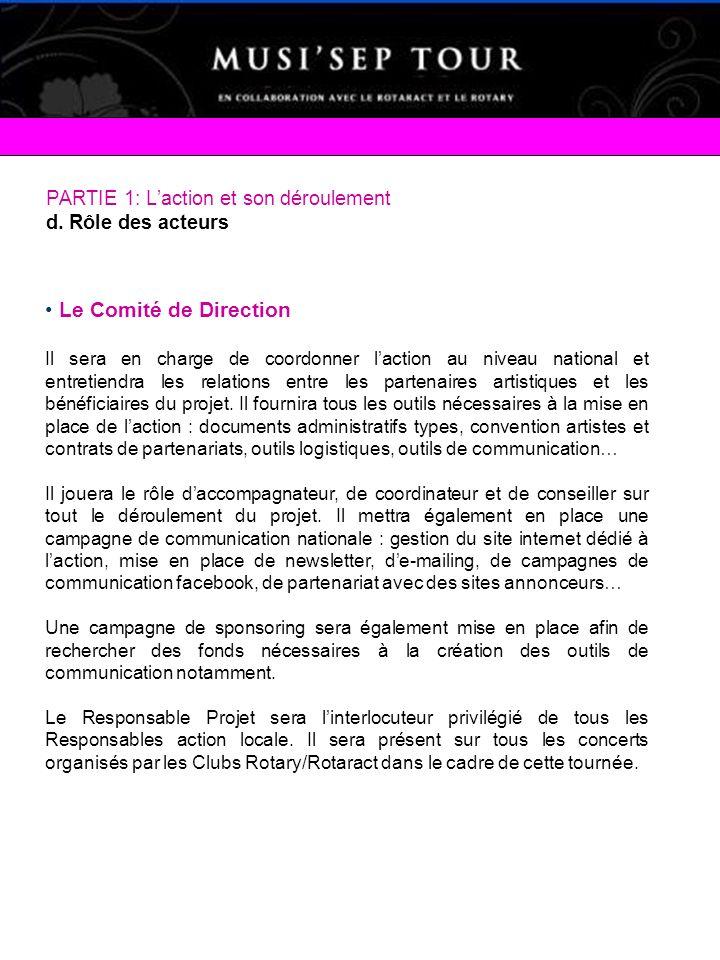 PARTIE 1: Laction et son déroulement d. Rôle des acteurs Le Comité de Direction Il sera en charge de coordonner laction au niveau national et entretie