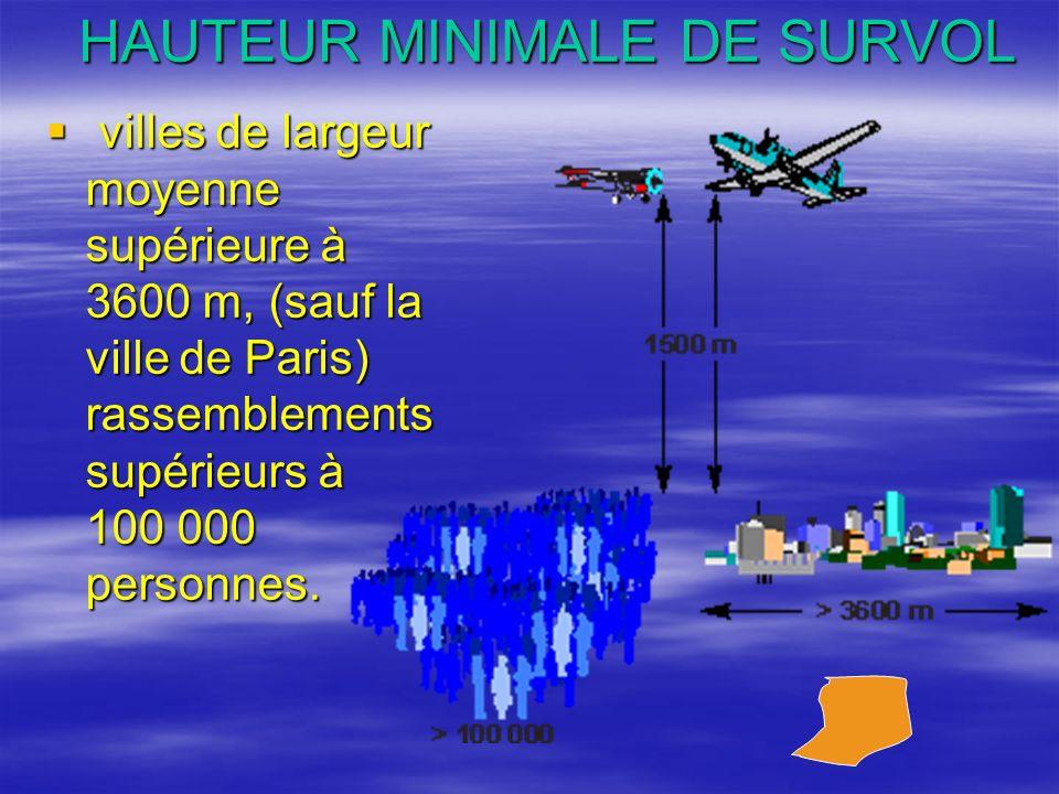HAUTEUR MINIMALE DE SURVOL villes de largeur moyenne supérieure à 3600 m, (sauf la ville de Paris) rassemblements supérieurs à 100 000 personnes. vill