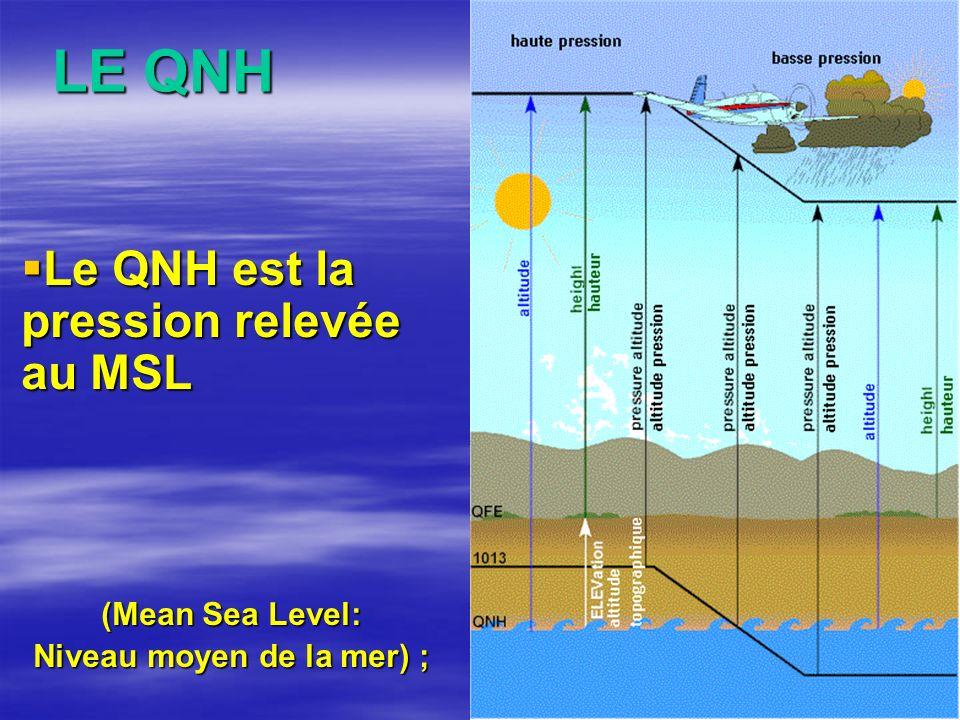 LE QNH Le QNH est la pression relevée au MSL Le QNH est la pression relevée au MSL (Mean Sea Level: Niveau moyen de la mer) ;