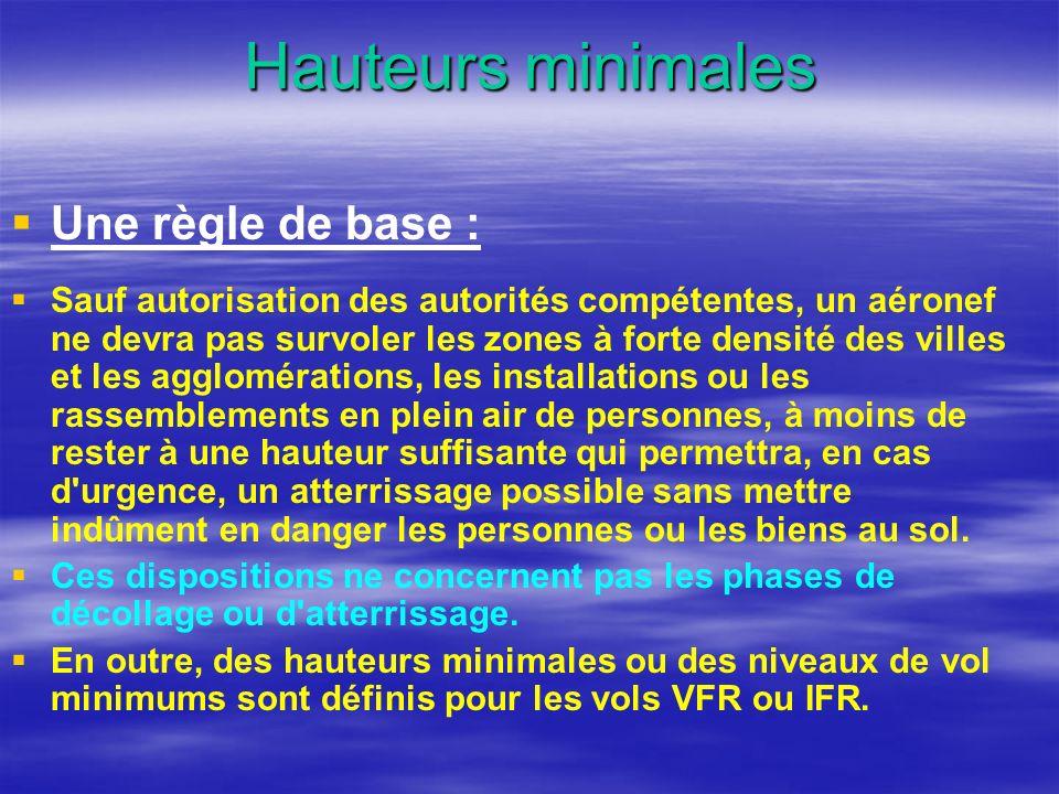 Hauteurs minimales Une règle de base : Sauf autorisation des autorités compétentes, un aéronef ne devra pas survoler les zones à forte densité des vil