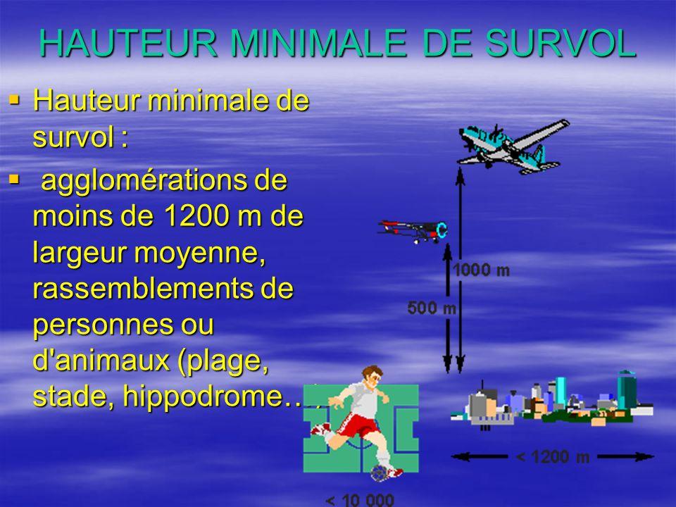 HAUTEUR MINIMALE DE SURVOL Hauteur minimale de survol : Hauteur minimale de survol : agglomérations de moins de 1200 m de largeur moyenne, rassembleme