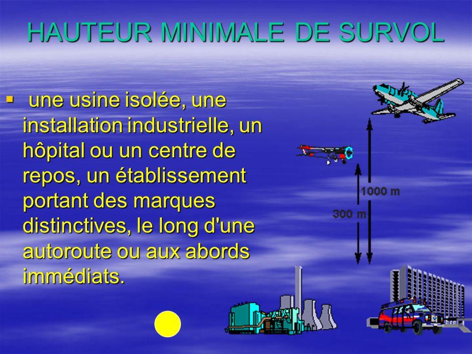 HAUTEUR MINIMALE DE SURVOL une usine isolée, une installation industrielle, un hôpital ou un centre de repos, un établissement portant des marques dis
