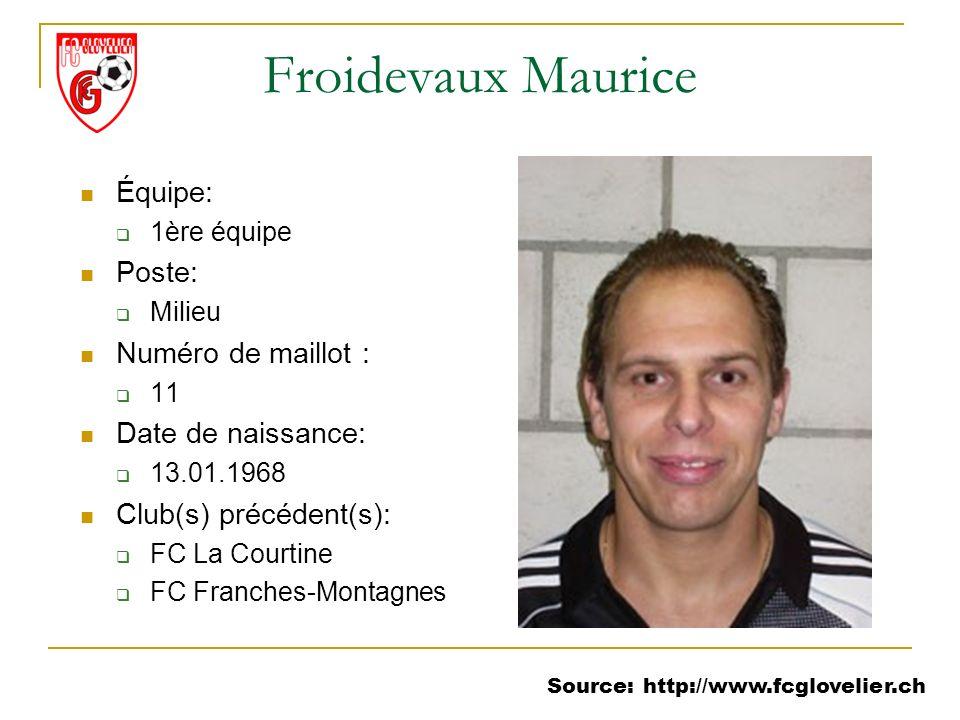 Source: http://www.fcglovelier.ch Froidevaux Maurice Équipe: 1ère équipe Poste: Milieu Numéro de maillot : 11 Date de naissance: 13.01.1968 Club(s) pr