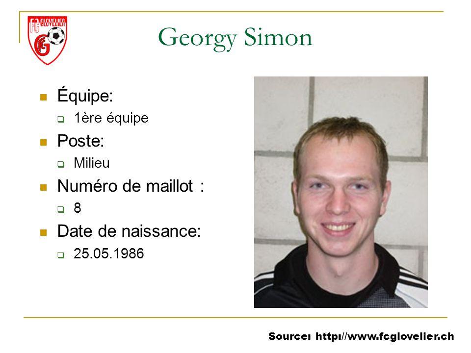 Source: http://www.fcglovelier.ch Georgy Simon Équipe: 1ère équipe Poste: Milieu Numéro de maillot : 8 Date de naissance: 25.05.1986