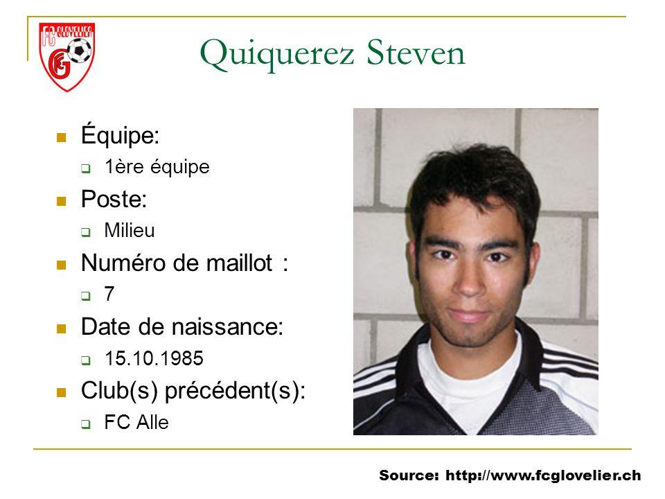 Source: http://www.fcglovelier.ch Quiquerez Steven Équipe: 1ère équipe Poste: Milieu Numéro de maillot : 7 Date de naissance: 15.10.1985 Club(s) précé