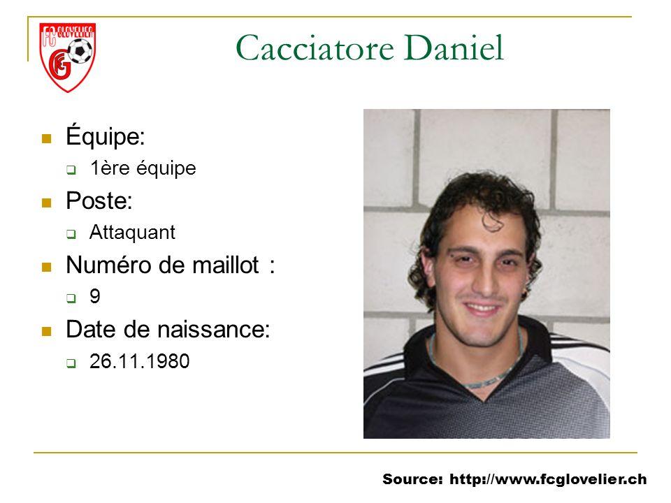 Source: http://www.fcglovelier.ch Cacciatore Daniel Équipe: 1ère équipe Poste: Attaquant Numéro de maillot : 9 Date de naissance: 26.11.1980