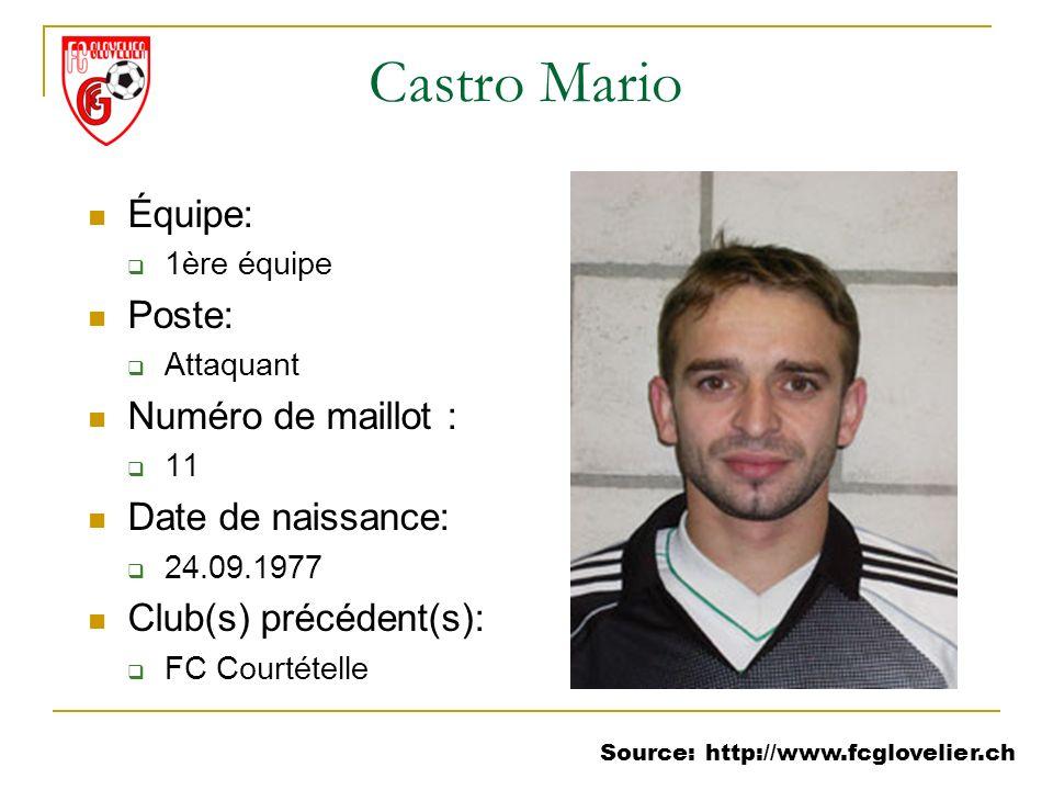 Source: http://www.fcglovelier.ch Castro Mario Équipe: 1ère équipe Poste: Attaquant Numéro de maillot : 11 Date de naissance: 24.09.1977 Club(s) précé