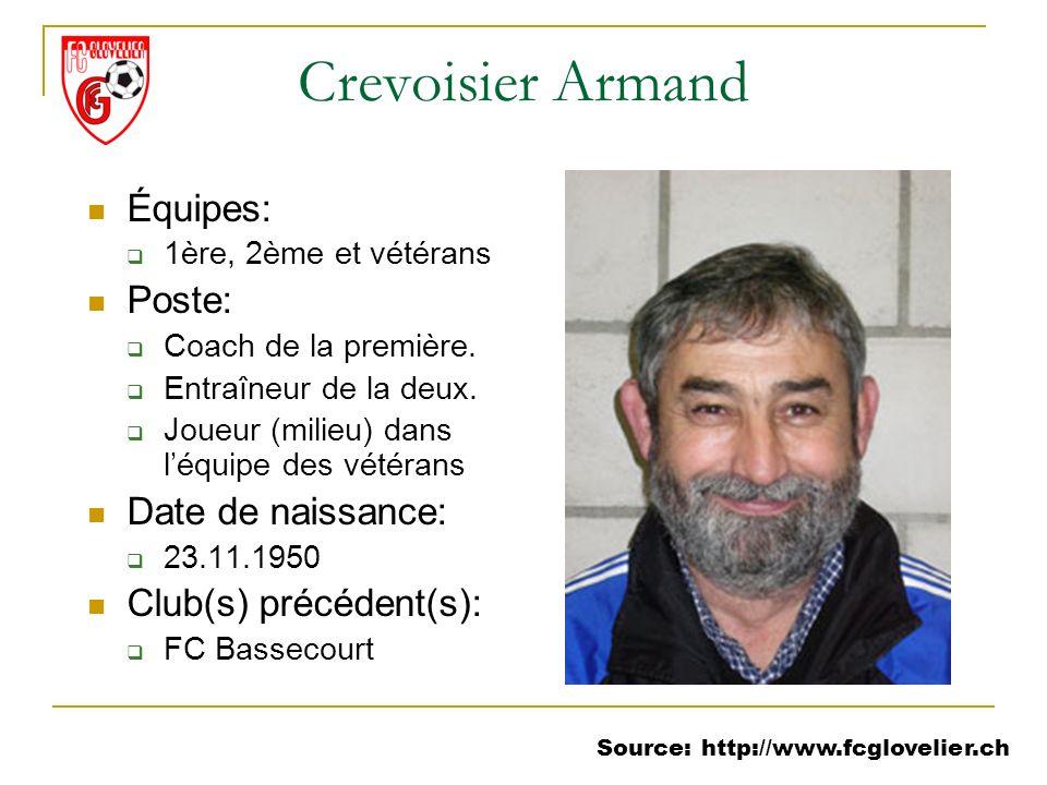 Source: http://www.fcglovelier.ch Crevoisier Armand Équipes: 1ère, 2ème et vétérans Poste: Coach de la première. Entraîneur de la deux. Joueur (milieu