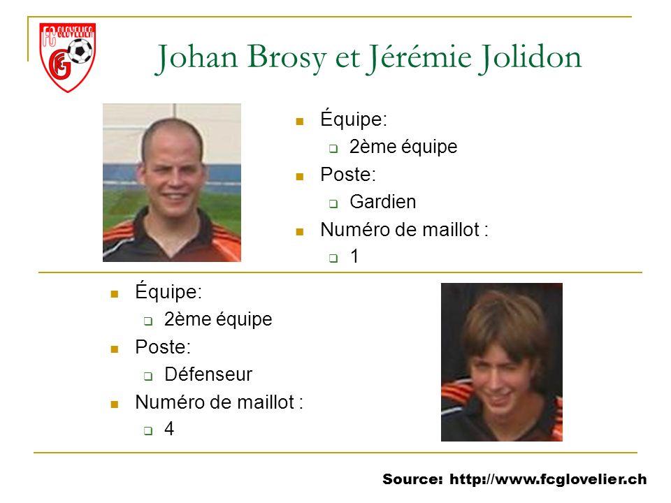Source: http://www.fcglovelier.ch Johan Brosy et Jérémie Jolidon Équipe: 2ème équipe Poste: Gardien Numéro de maillot : 1 Équipe: 2ème équipe Poste: D