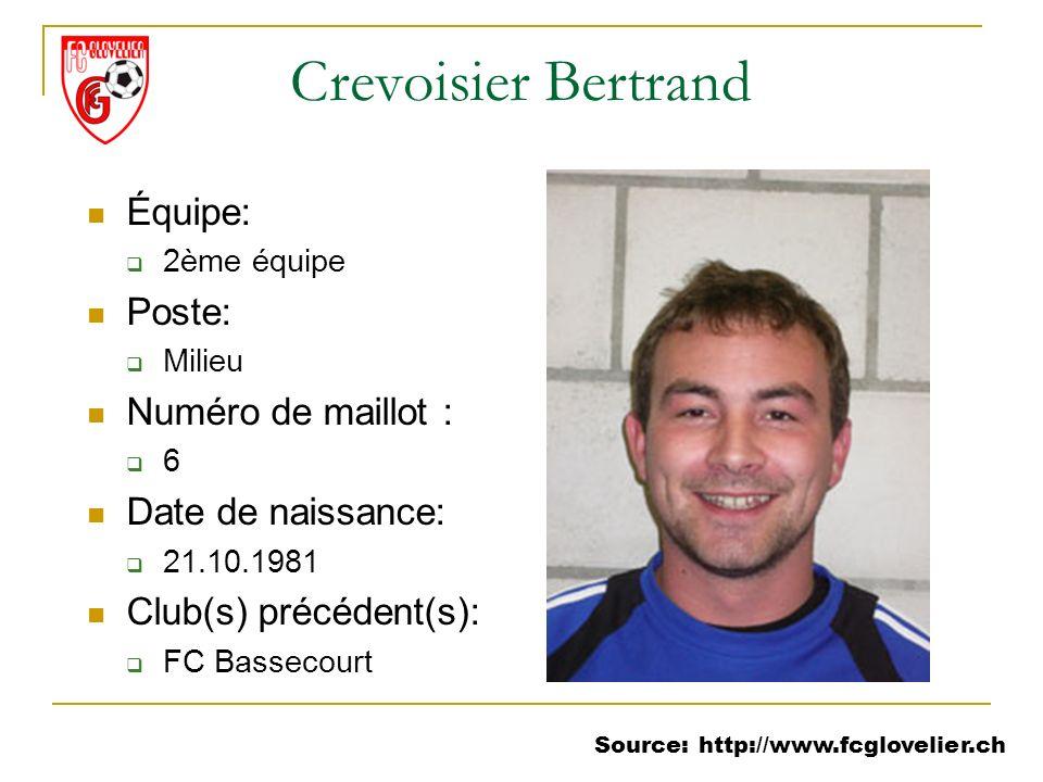 Source: http://www.fcglovelier.ch Crevoisier Bertrand Équipe: 2ème équipe Poste: Milieu Numéro de maillot : 6 Date de naissance: 21.10.1981 Club(s) pr