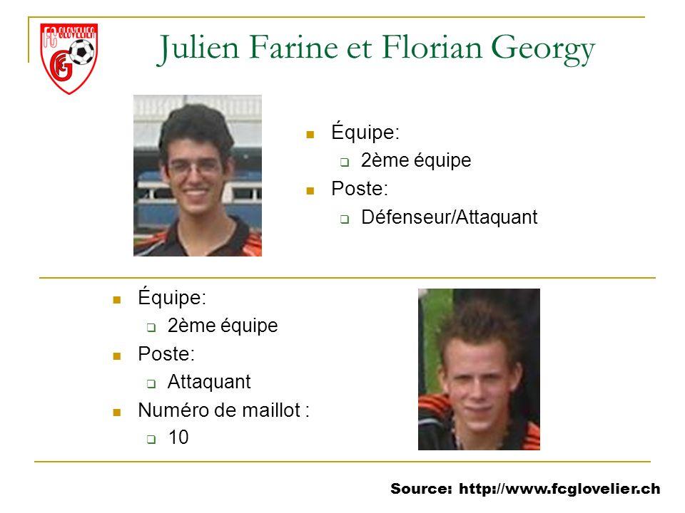 Source: http://www.fcglovelier.ch Julien Farine et Florian Georgy Équipe: 2ème équipe Poste: Défenseur/Attaquant Équipe: 2ème équipe Poste: Attaquant