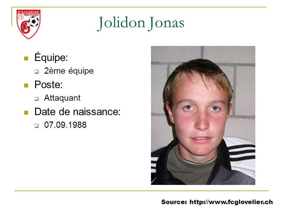 Source: http://www.fcglovelier.ch Jolidon Jonas Équipe: 2ème équipe Poste: Attaquant Date de naissance: 07.09.1988