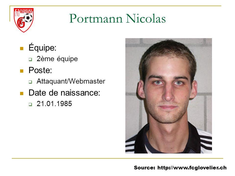 Source: http://www.fcglovelier.ch Portmann Nicolas Équipe: 2ème équipe Poste: Attaquant/Webmaster Date de naissance: 21.01.1985