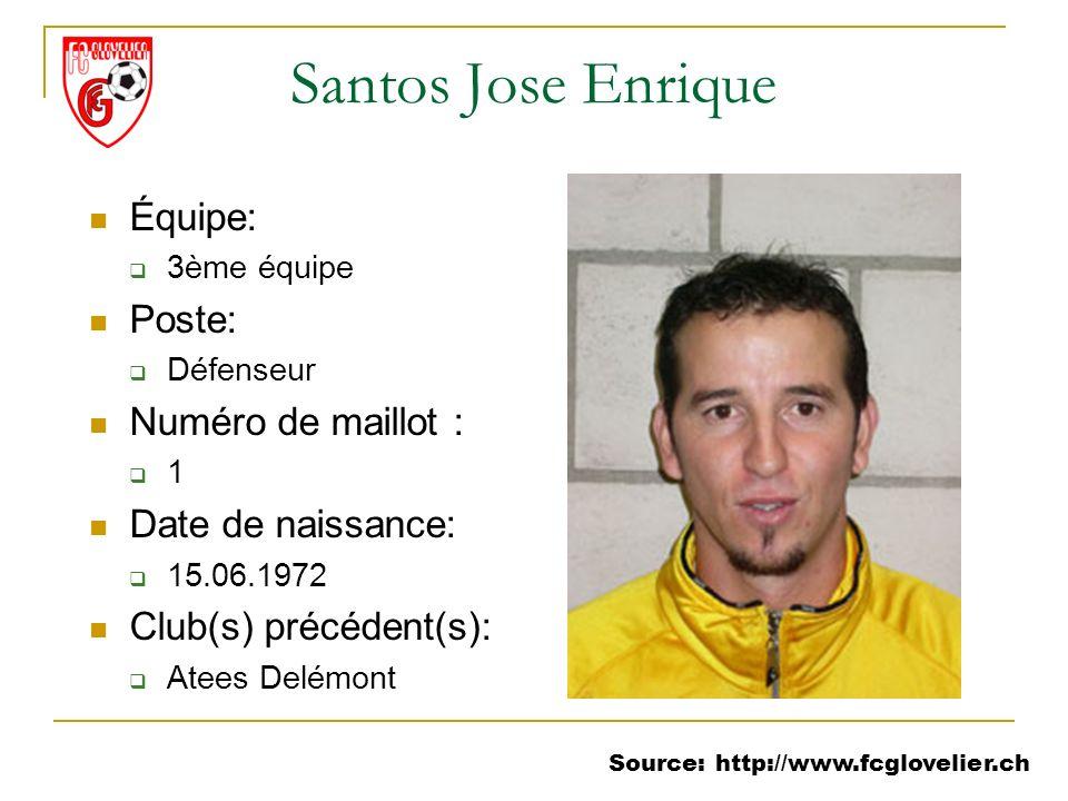 Source: http://www.fcglovelier.ch Santos Jose Enrique Équipe: 3ème équipe Poste: Défenseur Numéro de maillot : 1 Date de naissance: 15.06.1972 Club(s)