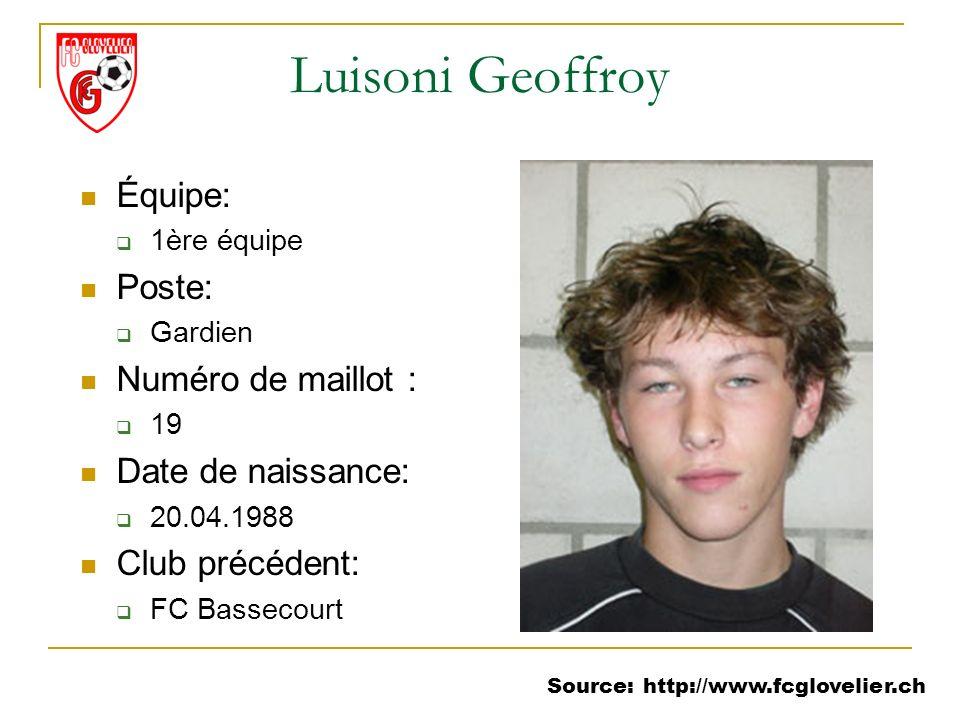 Source: http://www.fcglovelier.ch Luisoni Geoffroy Équipe: 1ère équipe Poste: Gardien Numéro de maillot : 19 Date de naissance: 20.04.1988 Club précéd