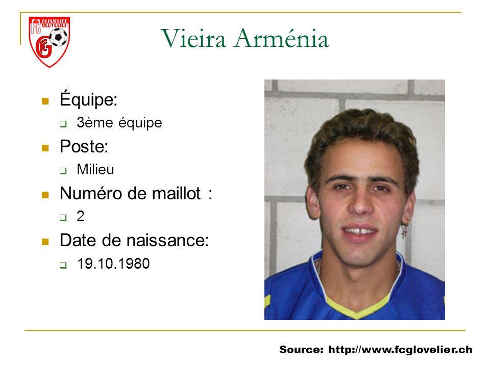 Source: http://www.fcglovelier.ch Vieira Arménia Équipe: 3ème équipe Poste: Milieu Numéro de maillot : 2 Date de naissance: 19.10.1980
