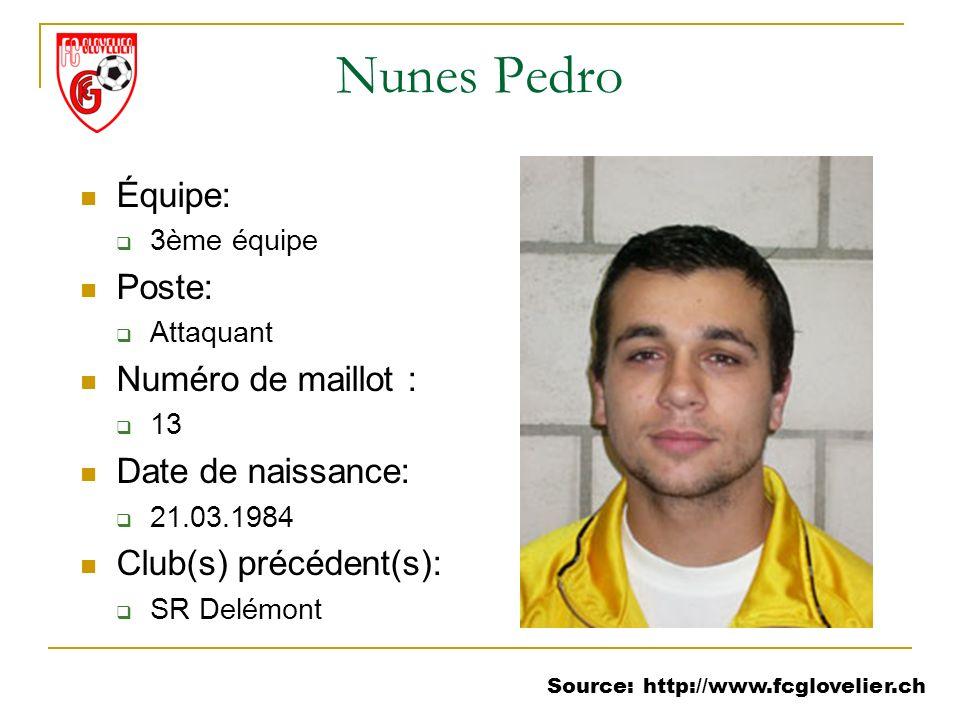 Source: http://www.fcglovelier.ch Nunes Pedro Équipe: 3ème équipe Poste: Attaquant Numéro de maillot : 13 Date de naissance: 21.03.1984 Club(s) précéd