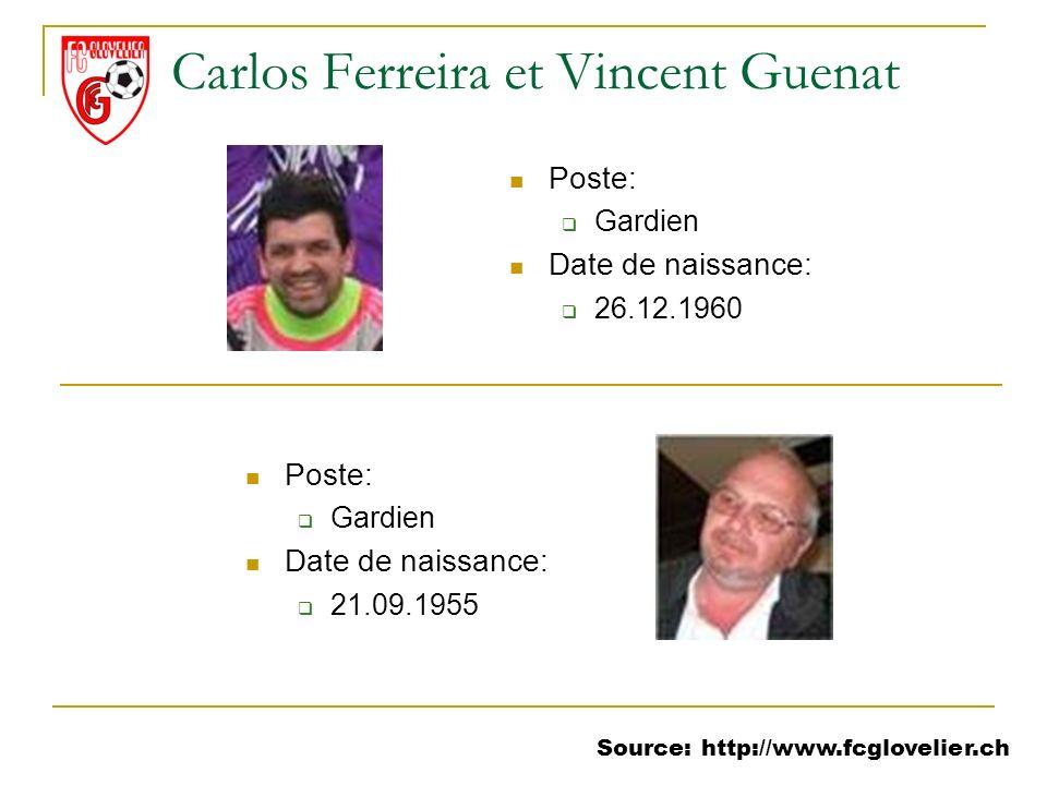 Source: http://www.fcglovelier.ch Poste: Gardien Date de naissance: 26.12.1960 Carlos Ferreira et Vincent Guenat Poste: Gardien Date de naissance: 21.