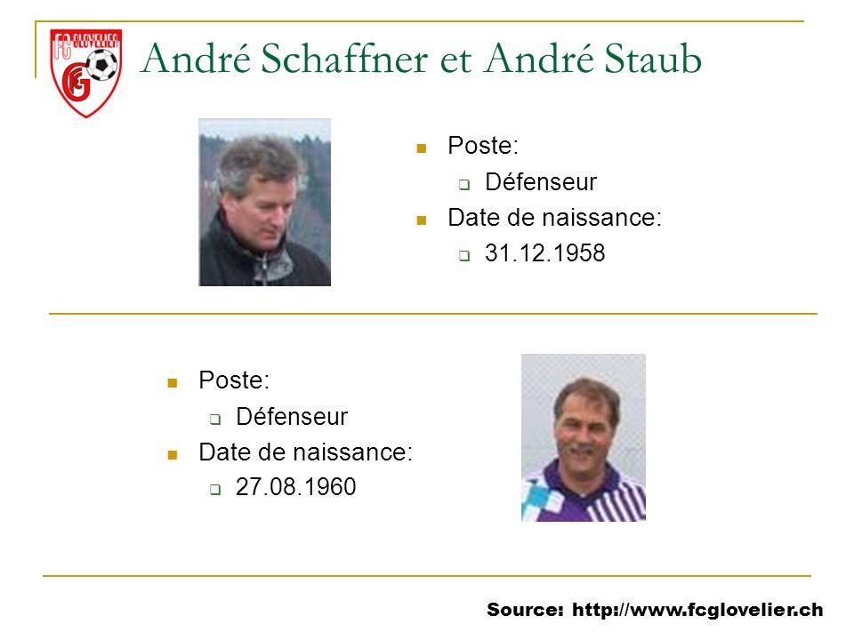 Source: http://www.fcglovelier.ch André Schaffner et André Staub Poste: Défenseur Date de naissance: 31.12.1958 Poste: Défenseur Date de naissance: 27