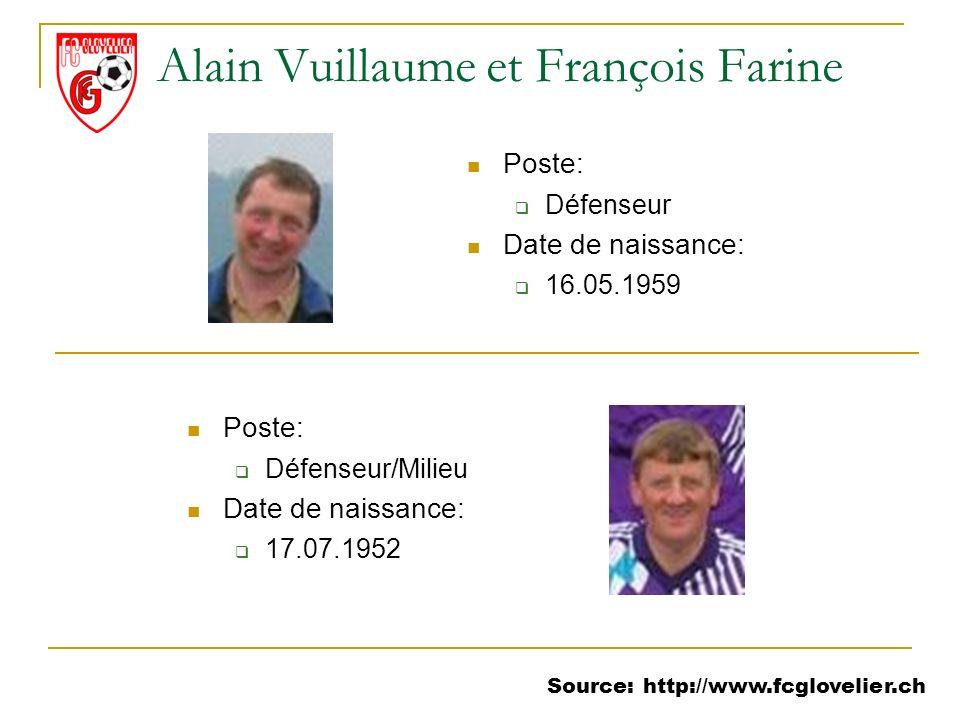 Source: http://www.fcglovelier.ch Alain Vuillaume et François Farine Poste: Défenseur Date de naissance: 16.05.1959 Poste: Défenseur/Milieu Date de na