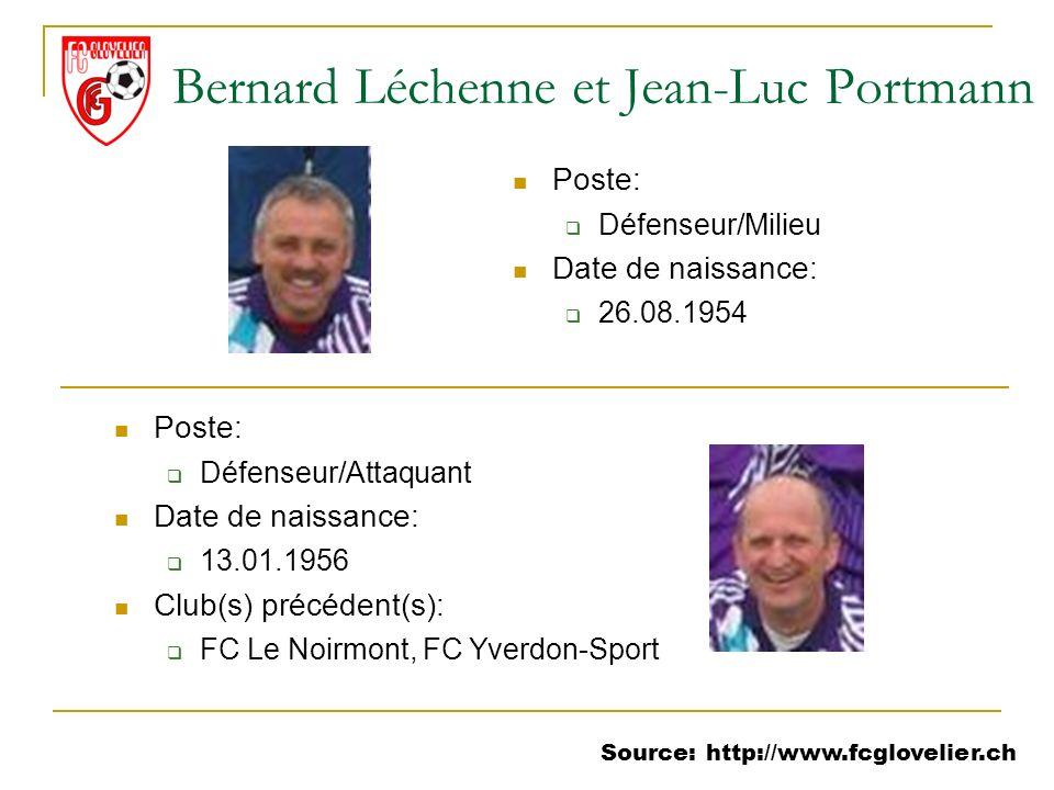 Source: http://www.fcglovelier.ch Bernard Léchenne et Jean-Luc Portmann Poste: Défenseur/Milieu Date de naissance: 26.08.1954 Poste: Défenseur/Attaqua
