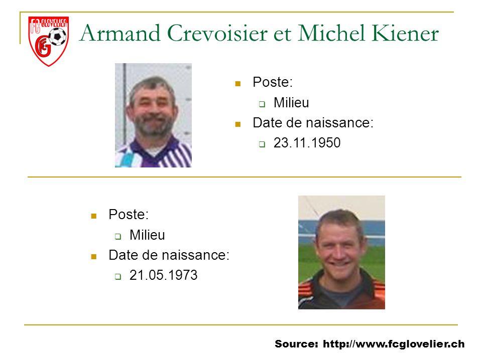 Source: http://www.fcglovelier.ch Armand Crevoisier et Michel Kiener Poste: Milieu Date de naissance: 23.11.1950 Poste: Milieu Date de naissance: 21.0