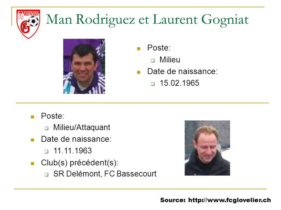 Source: http://www.fcglovelier.ch Man Rodriguez et Laurent Gogniat Poste: Milieu Date de naissance: 15.02.1965 Poste: Milieu/Attaquant Date de naissan