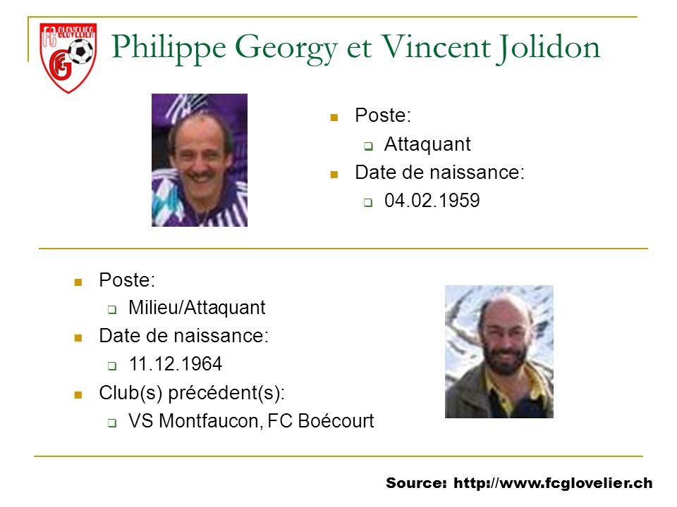 Source: http://www.fcglovelier.ch Philippe Georgy et Vincent Jolidon Poste: Attaquant Date de naissance: 04.02.1959 Poste: Milieu/Attaquant Date de na