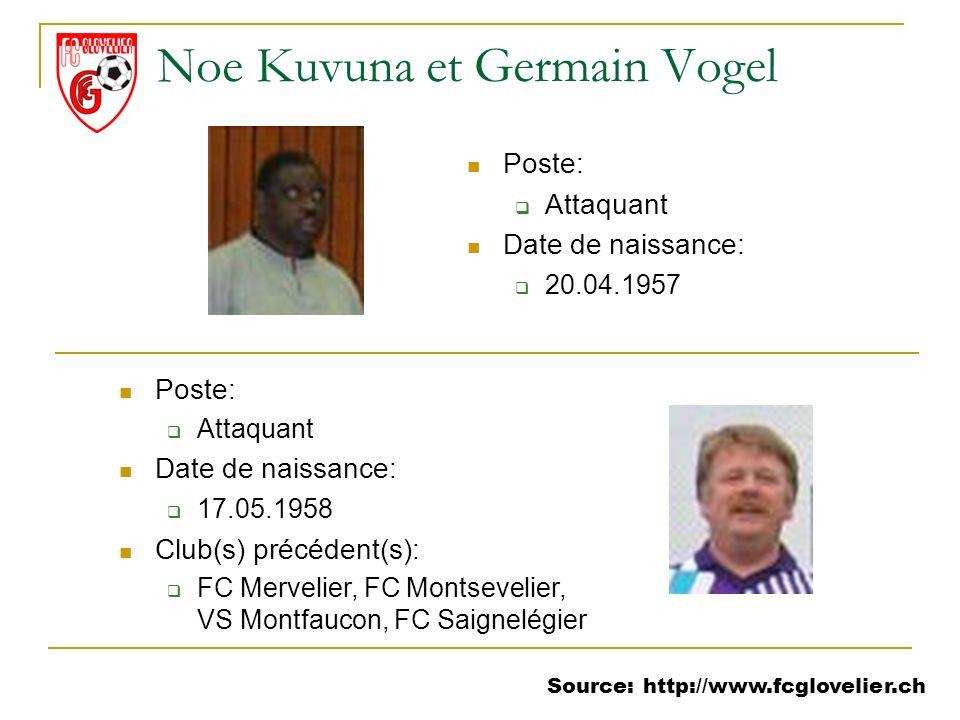 Source: http://www.fcglovelier.ch Noe Kuvuna et Germain Vogel Poste: Attaquant Date de naissance: 20.04.1957 Poste: Attaquant Date de naissance: 17.05