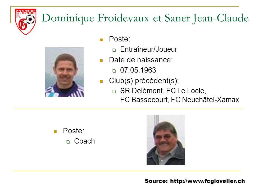 Source: http://www.fcglovelier.ch Dominique Froidevaux et Saner Jean-Claude Poste: Coach Poste: Entraîneur/Joueur Date de naissance: 07.05.1963 Club(s
