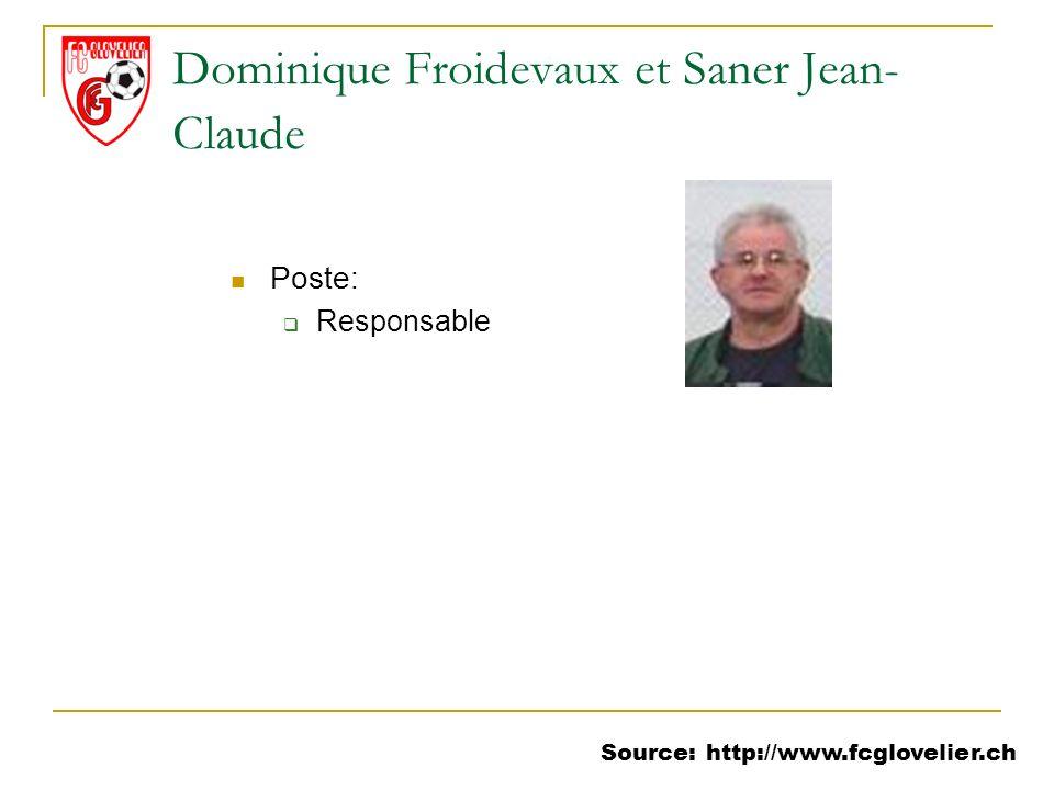 Source: http://www.fcglovelier.ch Dominique Froidevaux et Saner Jean- Claude Poste: Responsable