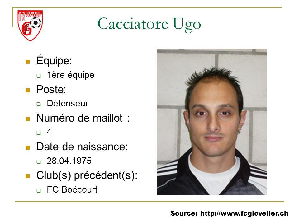 Source: http://www.fcglovelier.ch Cacciatore Ugo Équipe: 1ère équipe Poste: Défenseur Numéro de maillot : 4 Date de naissance: 28.04.1975 Club(s) préc