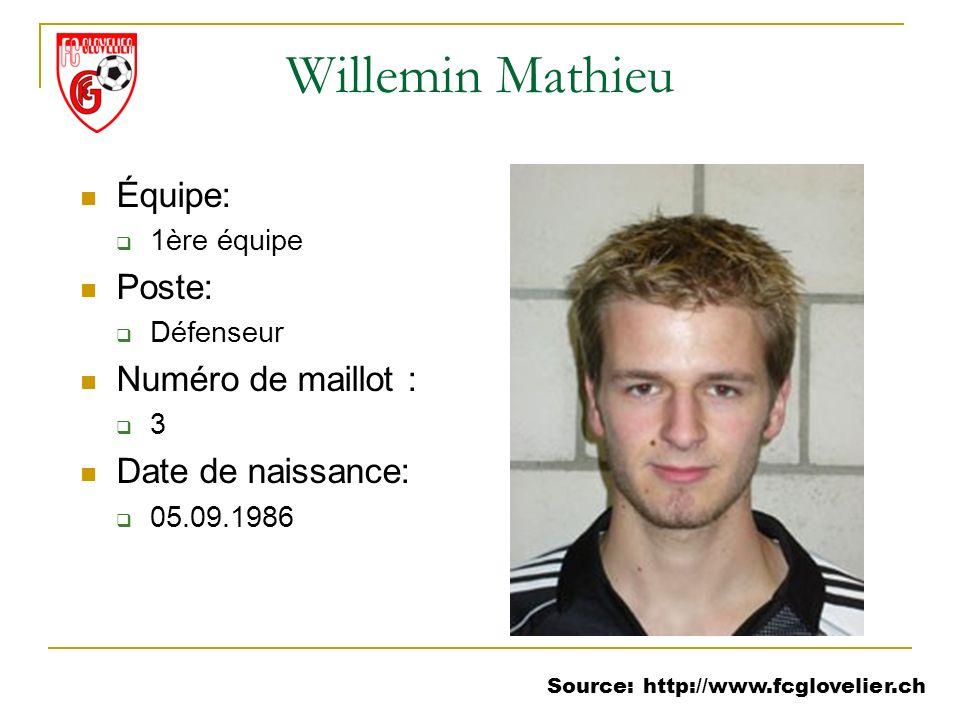 Source: http://www.fcglovelier.ch Willemin Mathieu Équipe: 1ère équipe Poste: Défenseur Numéro de maillot : 3 Date de naissance: 05.09.1986