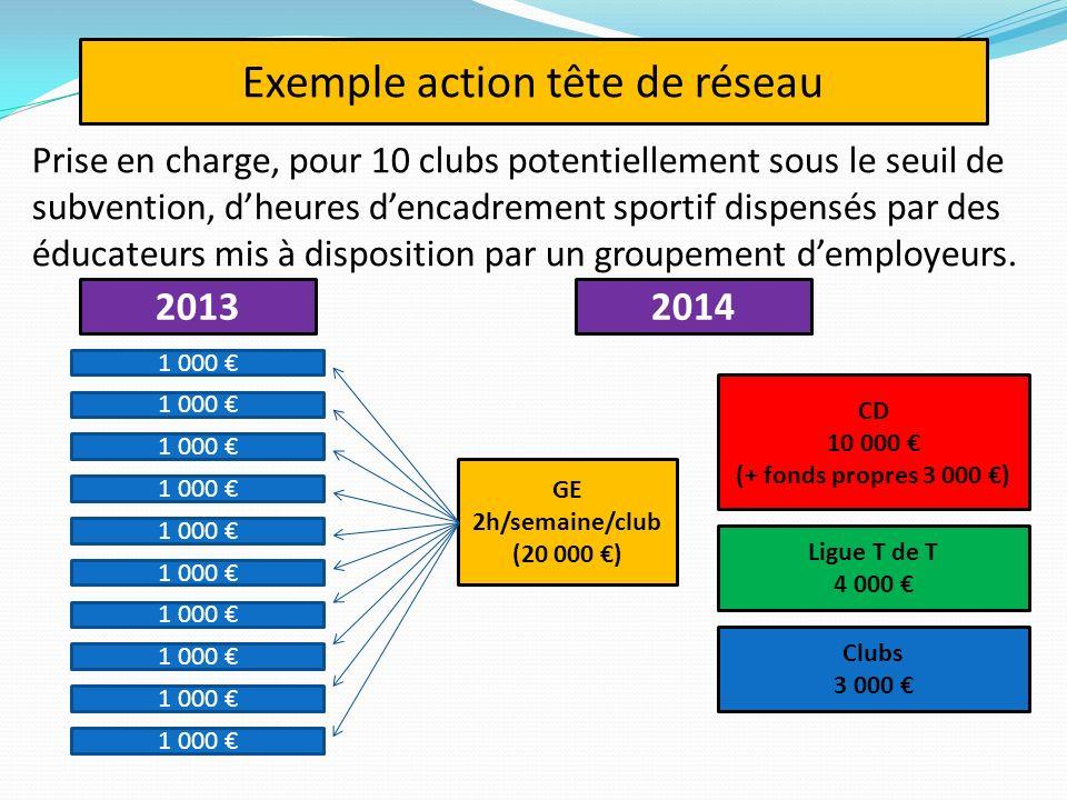 Prise en charge, pour 10 clubs potentiellement sous le seuil de subvention, dheures dencadrement sportif dispensés par des éducateurs mis à disposition par un groupement demployeurs.