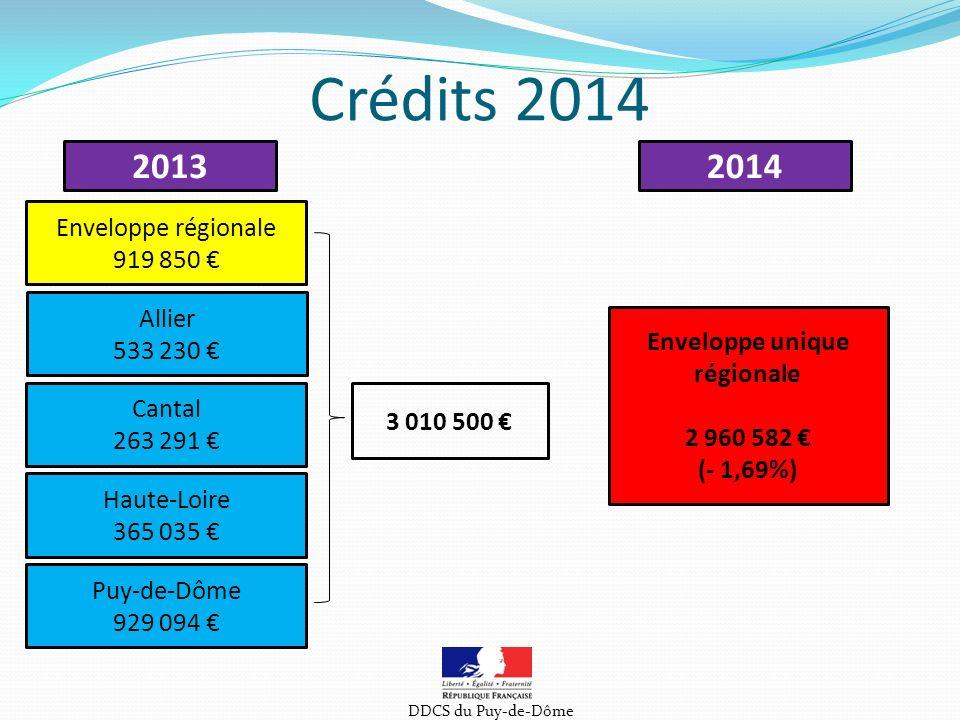 Crédits 2014 DDCS du Puy-de-Dôme 20132014 Enveloppe régionale 919 850 Allier 533 230 Cantal 263 291 Haute-Loire 365 035 Puy-de-Dôme 929 094 Enveloppe unique régionale 2 960 582 (- 1,69%) 3 010 500
