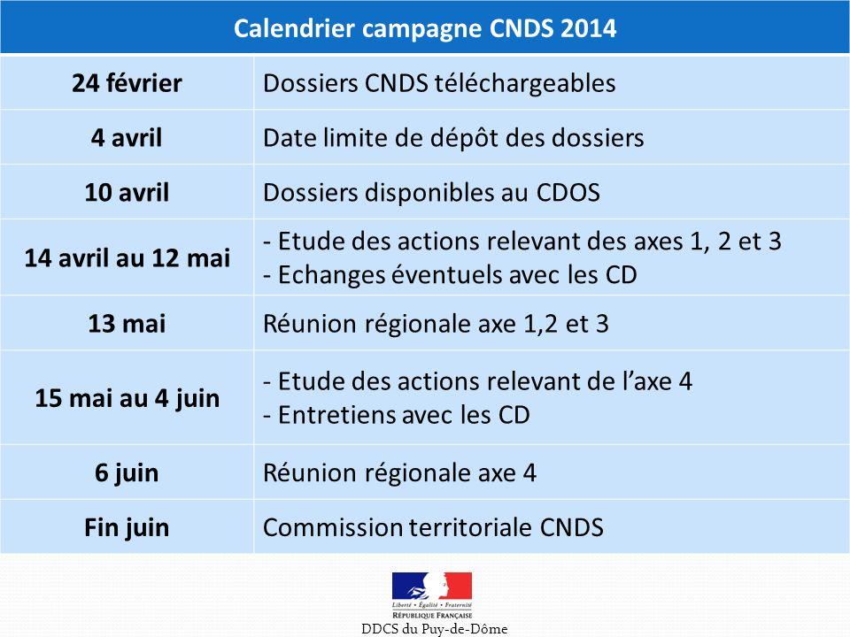 DDCS du Puy-de-Dôme Calendrier campagne CNDS 2014 24 févrierDossiers CNDS téléchargeables 4 avrilDate limite de dépôt des dossiers 10 avrilDossiers disponibles au CDOS 14 avril au 12 mai - Etude des actions relevant des axes 1, 2 et 3 - Echanges éventuels avec les CD 13 maiRéunion régionale axe 1,2 et 3 15 mai au 4 juin - Etude des actions relevant de laxe 4 - Entretiens avec les CD 6 juinRéunion régionale axe 4 Fin juinCommission territoriale CNDS