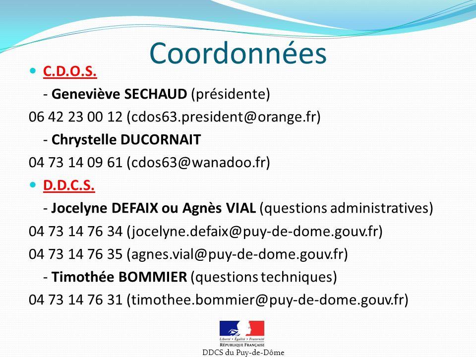 Coordonnées C.D.O.S.