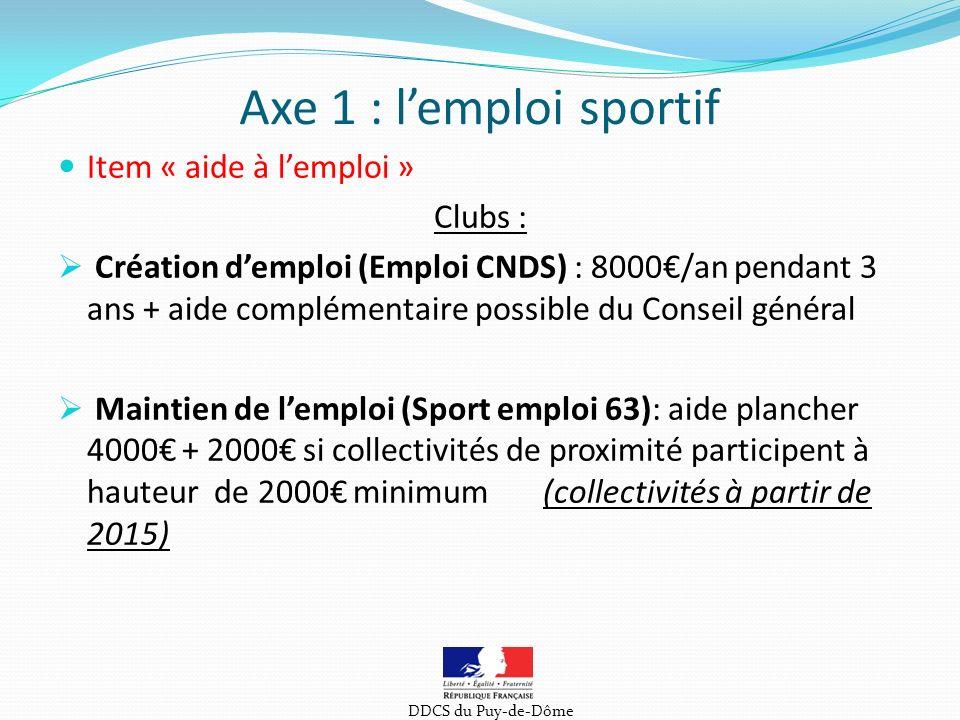 Item « aide à lemploi » Clubs : Création demploi (Emploi CNDS) : 8000/an pendant 3 ans + aide complémentaire possible du Conseil général Maintien de lemploi (Sport emploi 63): aide plancher 4000 + 2000 si collectivités de proximité participent à hauteur de 2000 minimum (collectivités à partir de 2015) Axe 1 : lemploi sportif DDCS du Puy-de-Dôme