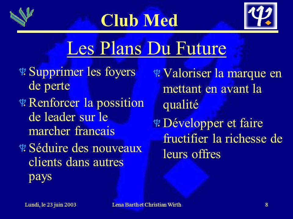 Club Med 8Lundi, le 23 juin 2003Lena Barth et Christian Wirth Les Plans Du Future Supprimer les foyers de perte Renforcer la possition de leader sur l