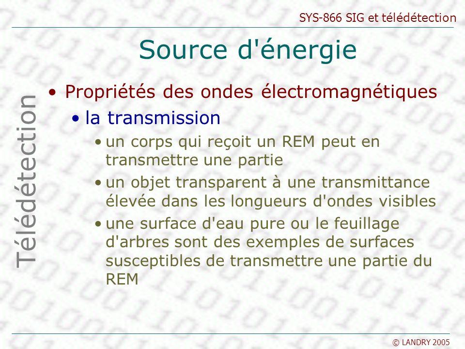 SYS-866 SIG et télédétection © LANDRY 2005 Source d'énergie Propriétés des ondes électromagnétiques la transmission un corps qui reçoit un REM peut en
