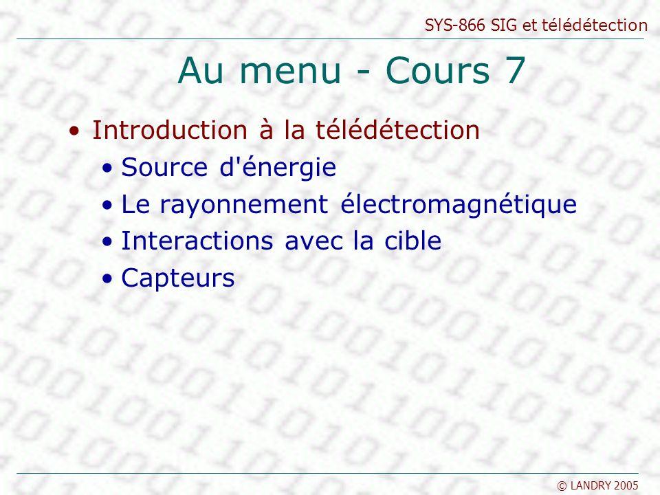 SYS-866 SIG et télédétection © LANDRY 2005 Au menu - Cours 7 Introduction à la télédétection Source d'énergie Le rayonnement électromagnétique Interac