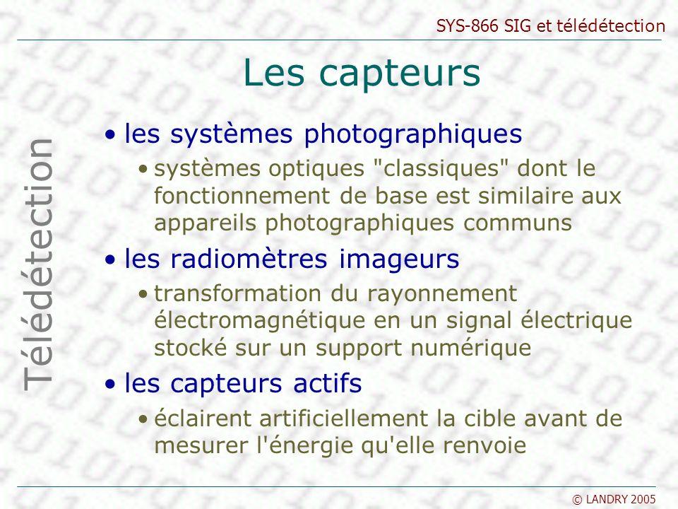 SYS-866 SIG et télédétection © LANDRY 2005 Les capteurs les systèmes photographiques systèmes optiques
