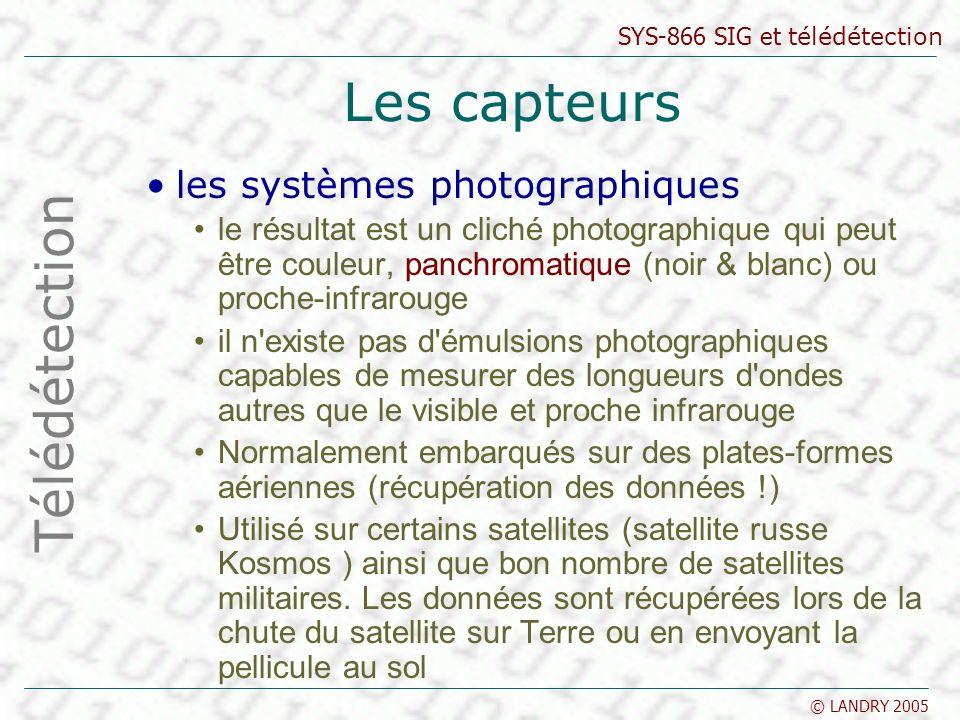 SYS-866 SIG et télédétection © LANDRY 2005 Les capteurs les systèmes photographiques le résultat est un cliché photographique qui peut être couleur, p