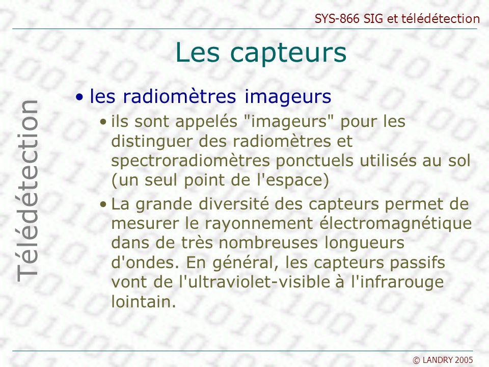 SYS-866 SIG et télédétection © LANDRY 2005 Les capteurs les radiomètres imageurs ils sont appelés