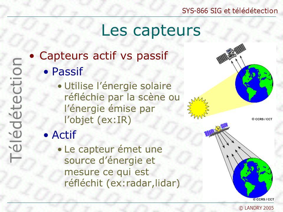 SYS-866 SIG et télédétection © LANDRY 2005 Les capteurs Capteurs actif vs passif Passif Utilise lénergie solaire réfléchie par la scène ou lénergie ém