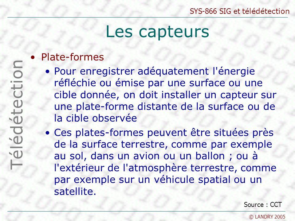 SYS-866 SIG et télédétection © LANDRY 2005 Les capteurs Plate-formes Pour enregistrer adéquatement l'énergie réfléchie ou émise par une surface ou une