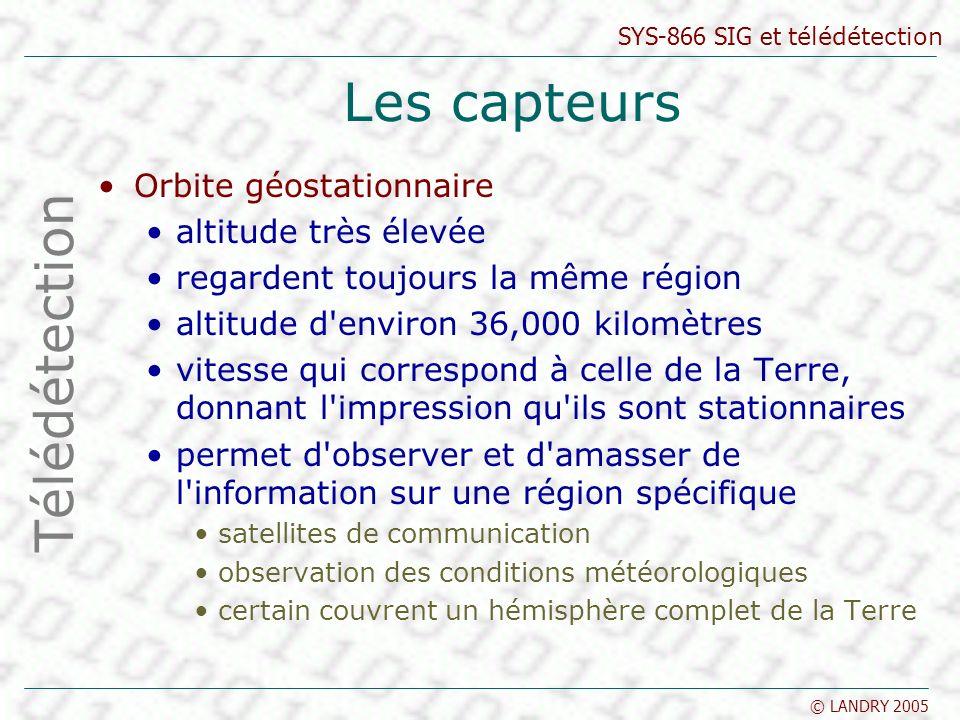 SYS-866 SIG et télédétection © LANDRY 2005 Orbite géostationnaire altitude très élevée regardent toujours la même région altitude d'environ 36,000 kil