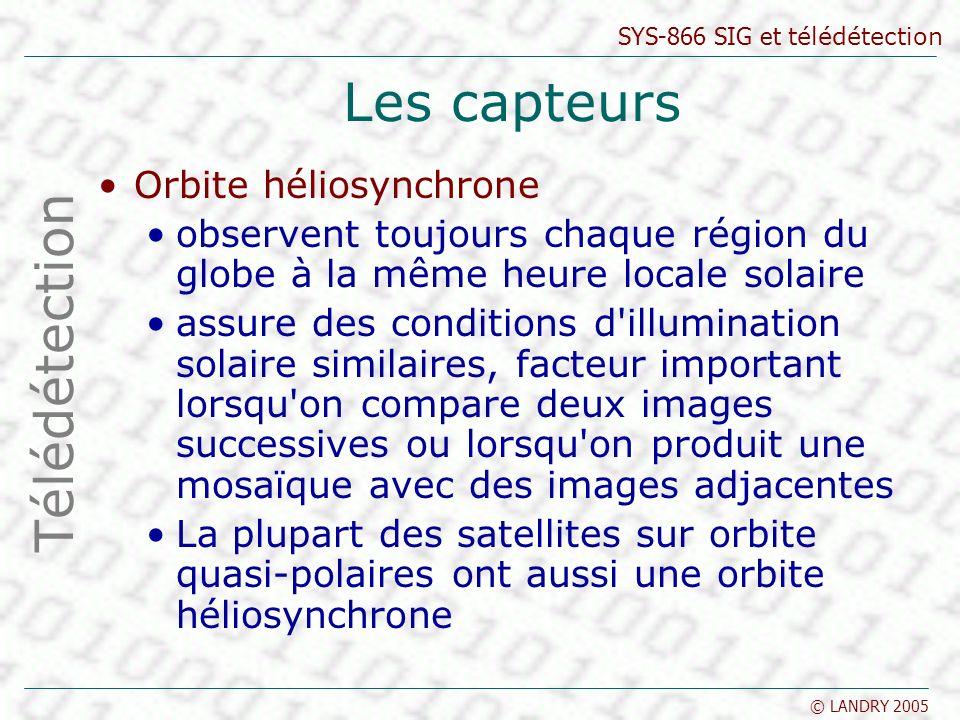 SYS-866 SIG et télédétection © LANDRY 2005 Les capteurs Orbite héliosynchrone observent toujours chaque région du globe à la même heure locale solaire