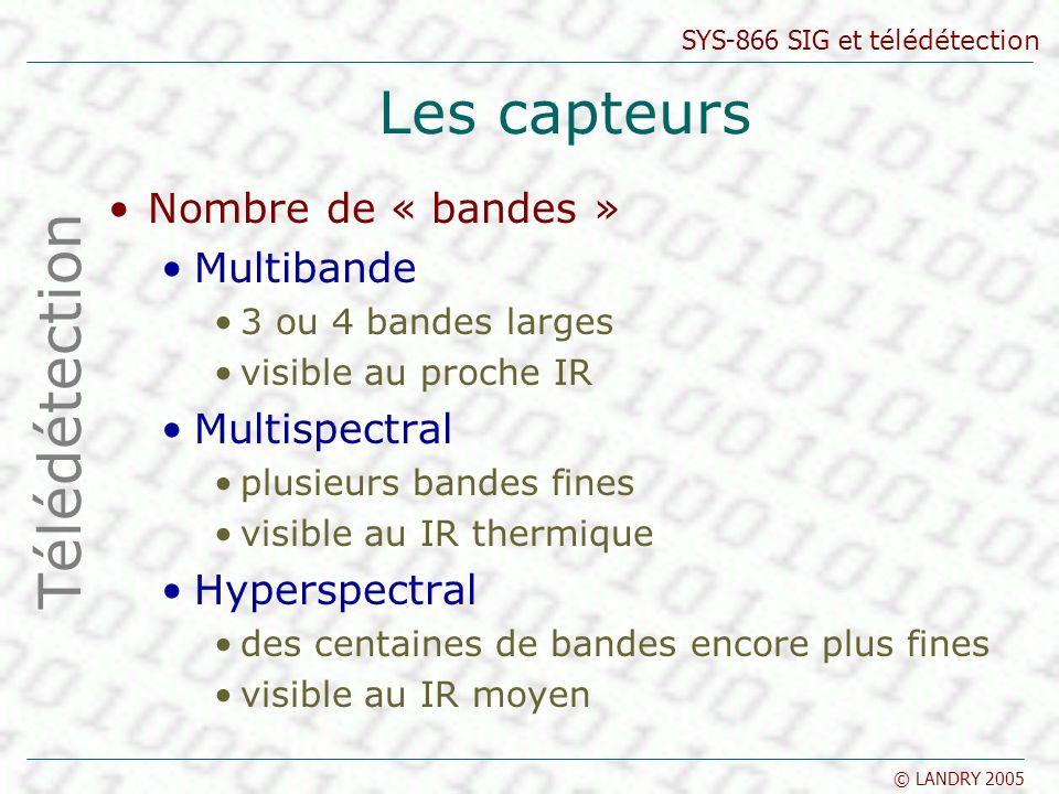 SYS-866 SIG et télédétection © LANDRY 2005 Les capteurs Nombre de « bandes » Multibande 3 ou 4 bandes larges visible au proche IR Multispectral plusie