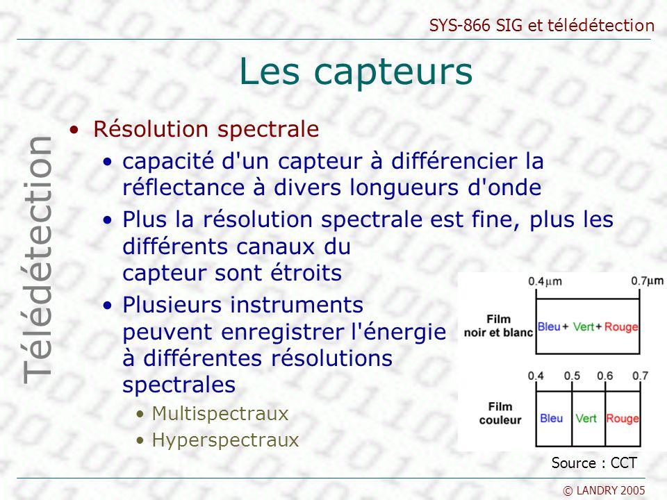SYS-866 SIG et télédétection © LANDRY 2005 Les capteurs Résolution spectrale capacité d'un capteur à différencier la réflectance à divers longueurs d'